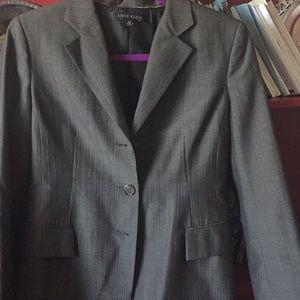 Women's pantsuit, Brown pinned striped